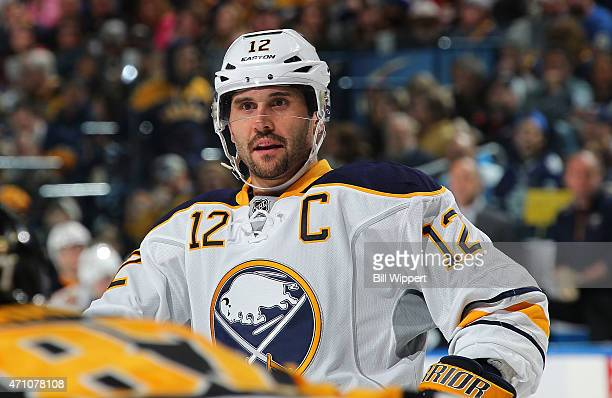 Brian Gionta of the Buffalo Sabres skates against the Pittsburgh Penguins on April 11 2015 at the First Niagara Center in Buffalo New York