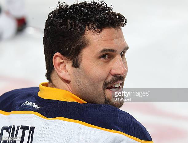 Brian Gionta of the Buffalo Sabres warms up before playing the Detroit Red Wings in an NHL game on January 22 2016 at the First Niagara Center in...