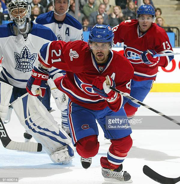 Brian Gionta of the Montreal Canadiens charges after the puck in a game against the Toronto Maple Leafs on October 1 2009 at the Air Canada Centre in...