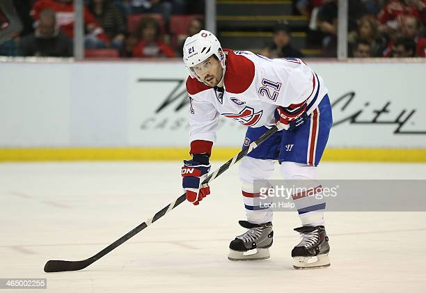 Brian Gionta of the Montreal Canadiens looks to the bench during the first period of the game against the Detroit Red Wings at Joe Louis Arena on...