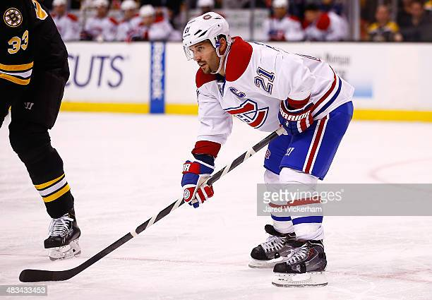 Brian Gionta of the Montreal Canadiens plays against the Boston Bruins during the game at TD Garden on March 24 2014 in Boston Massachusetts