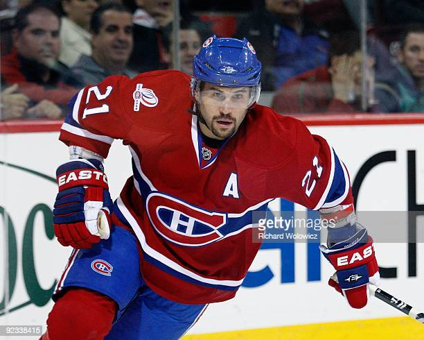Brian Gionta of the Montreal Canadiens skates during the NHL game against the New York Rangers on October 24 2009 at the Bell Centre in Montreal...