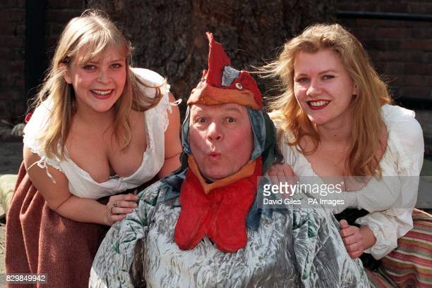Brian Glover the voice behind the Tetley teabag advertisments with actressess Susan Earnshaw and Janet Burke at the launch of the third national tour...