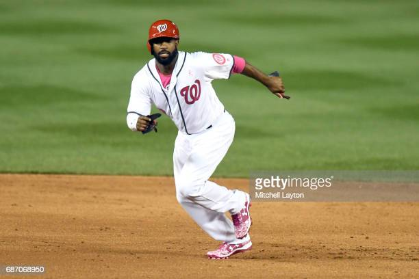 Brian Goodwin of the Washington Nationals leads off second base during game two of baseball game against the Philadelphia Phillies at Nationals Park...