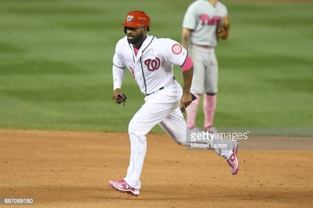 Brian Goodwin of the Washington Nationals runs to third base during game two of baseball game against the Philadelphia Phillies at Nationals Park on...