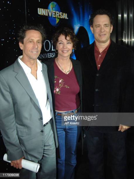 Brian Grazer Kathleen Quinlan and Tom Hanks during 'Apollo 13' Anniversary Edition DVD Launch Press Line at California Science Center in Los Angeles...