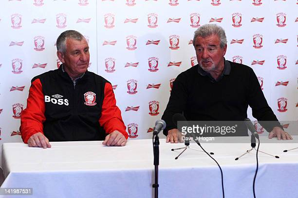 Brian Gumm and Terry Venables pose at a press conference as Terry Venables announces his return to UK football as coach of nonleague Wembley FC to...