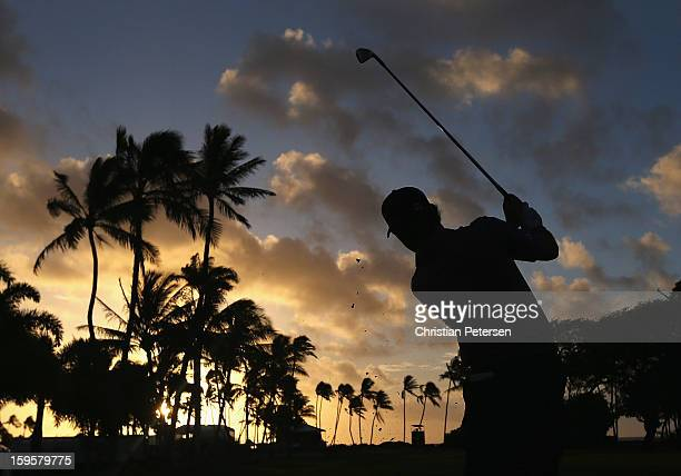Brian Harman hits a tee shot on the 10th hole during the first round of the Sony Open in Hawaii at Waialae Country Club on January 10 2013 in...