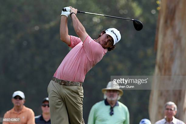 Brian Harman hits a tee shot on the 9th hole in the first round of the Northern Trust Open at the Riviera Country Club on February 13 2014 in Pacific...