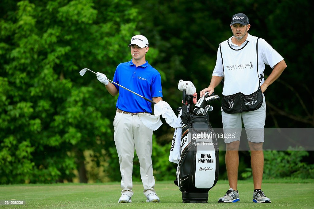<a gi-track='captionPersonalityLinkClicked' href=/galleries/search?phrase=Brian+Harman&family=editorial&specificpeople=2286163 ng-click='$event.stopPropagation()'>Brian Harman</a> is seen with his caddie on the eighth tee during the First Round of the DEAN & DELUCA Invitational at Colonial Country Club on May 26, 2016 in Fort Worth, Texas.