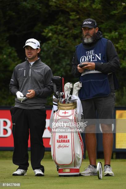 Brian Harman of the United States and his caddie on the fifth tee during the first round of the 146th Open Championship at Royal Birkdale on July 20...