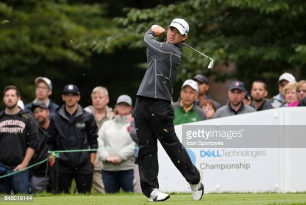 Brian Harman of the United States hits from the 1st tee during the third round of the Dell Technologies Championship on September 3 at TPC Boston in...