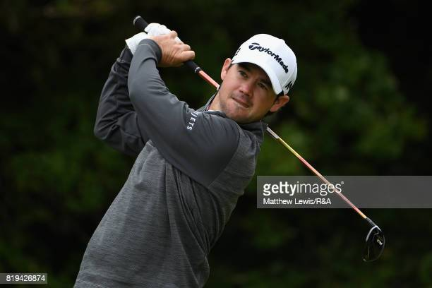Brian Harman of the United States on the fifth tee during the first round of the 146th Open Championship at Royal Birkdale on July 20 2017 in...