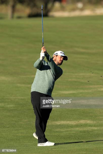 Brian Harman of the United States plays his second shot on the 18th hole during the final round of The RSM Classic at Sea Island Golf Club Seaside...
