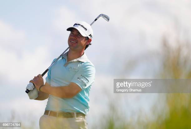 Brian Harman of the United States plays his shot from the 13th tee during the second round of the 2017 US Open at Erin Hills on June 16 2017 in...
