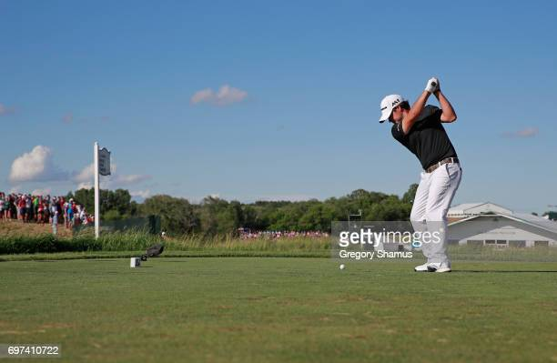 Brian Harman of the United States plays his shot from the 13th tee during the final round of the 2017 US Open at Erin Hills on June 18 2017 in...