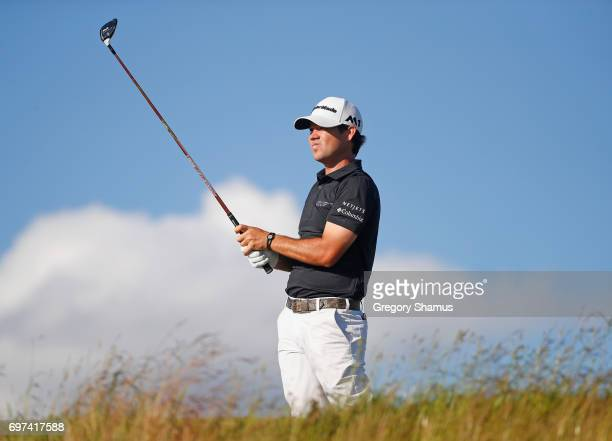 Brian Harman of the United States plays his shot from the 15th tee during the final round of the 2017 US Open at Erin Hills on June 18 2017 in...