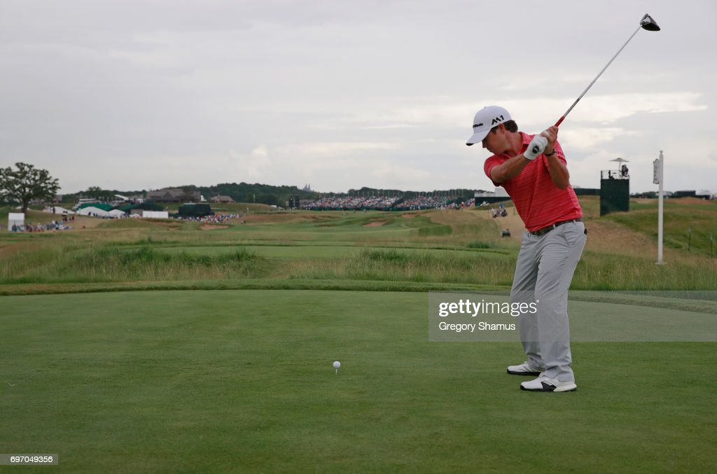 Brian Harman of the United States plays his shot from the 18th tee during the third round of the 2017 U.S. Open at Erin Hills on June 17, 2017 in Hartford, Wisconsin.