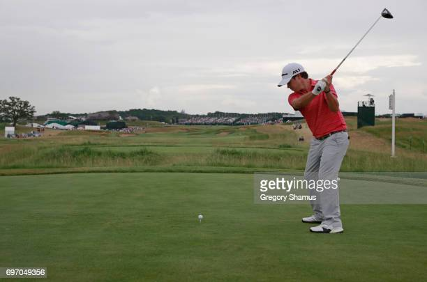 Brian Harman of the United States plays his shot from the 18th tee during the third round of the 2017 US Open at Erin Hills on June 17 2017 in...