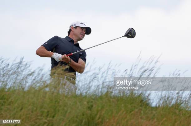 Brian Harman of the United States plays his shot from the fifth tee during the final round of the 2017 US Open at Erin Hills on June 18 2017 in...