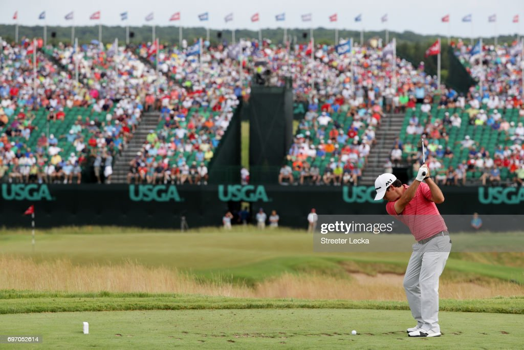 Brian Harman of the United States plays his shot from the ninth tee during the third round of the 2017 U.S. Open at Erin Hills on June 17, 2017 in Hartford, Wisconsin.