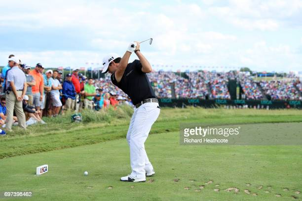 Brian Harman of the United States plays his shot from the ninth tee during the final round of the 2017 US Open at Erin Hills on June 18 2017 in...