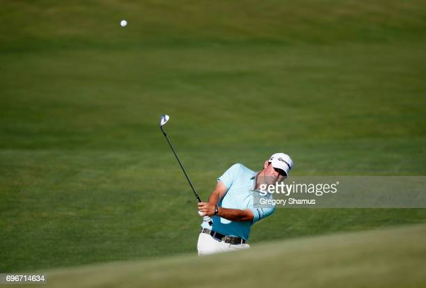 Brian Harman of the United States plays his shot on the 14th hole during the second round of the 2017 US Open at Erin Hills on June 16 2017 in...