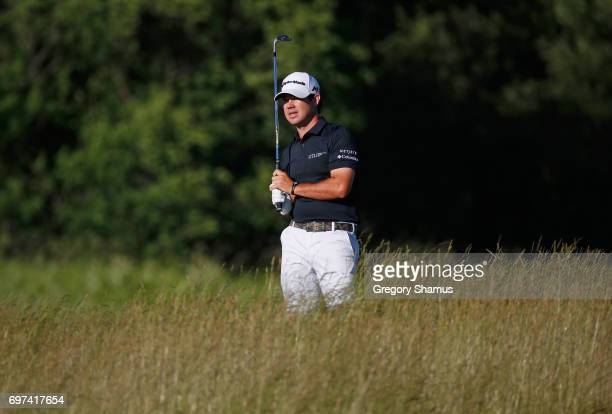 Brian Harman of the United States plays his shot on the 15th hole during the final round of the 2017 US Open at Erin Hills on June 18 2017 in...