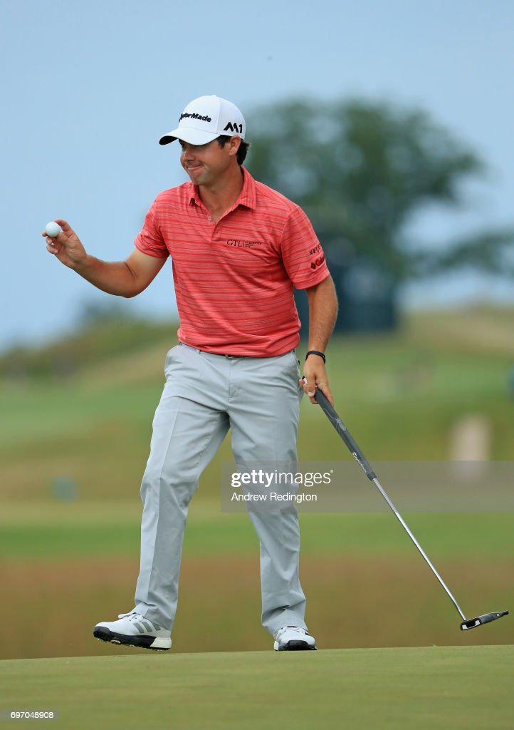 Brian Harman of the United States reacts after finishing on the 18th green during the third round of the 2017 U.S. Open at Erin Hills on June 17, 2017 in Hartford, Wisconsin.