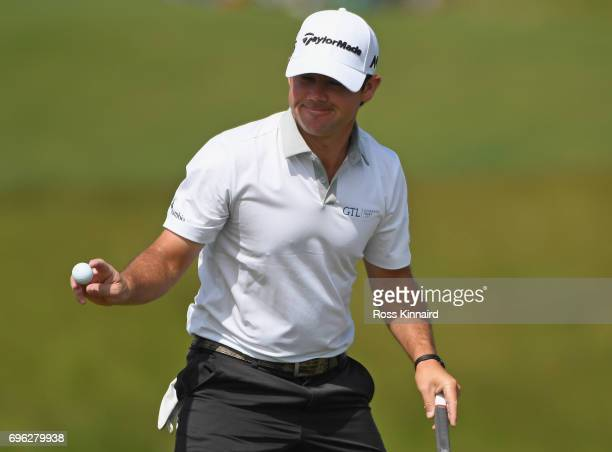 Brian Harman of the United States reacts making a birdie on on the 18th green during the first round of the 2017 US Open at Erin Hills on June 15...