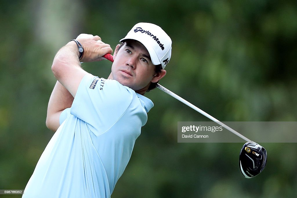 Brian Harman plays his shot from the 13th tee during the first round of the Deutsche Bank Championship at TPC Boston on September 2, 2016 in Norton, Massachusetts.