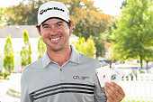 Brian Harman poses with two aces after carding two holesinone in the final round of The Barclays at Plainfield Country Club on August 30 2015 in...