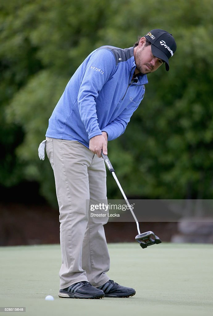 Brian Harman putts the ball on the seventh hole during the first round of the 2016 Wells Fargo Championship at Quail Hollow Club on May 5, 2016 in Charlotte, North Carolina.
