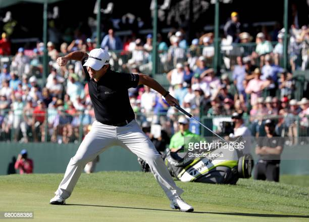 Brian Harman reacts after putting for birdie on the 18th hole to win the Wells Fargo Championship at Eagle Point Golf Club on May 7 2017 in...