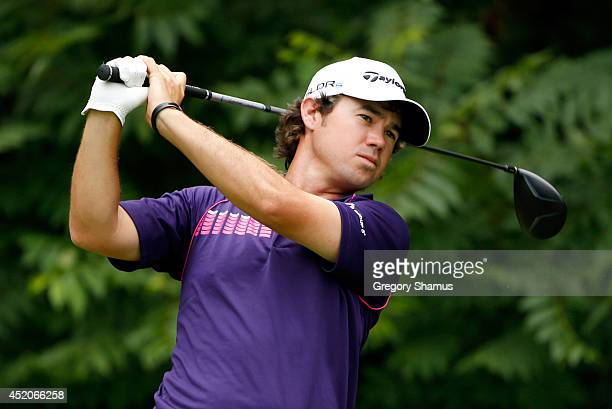 Brian Harman tees off on the second hole during the third round of the John Deere Classic held at TPC Deere Run on July 12 2014 in Silvis Illinois