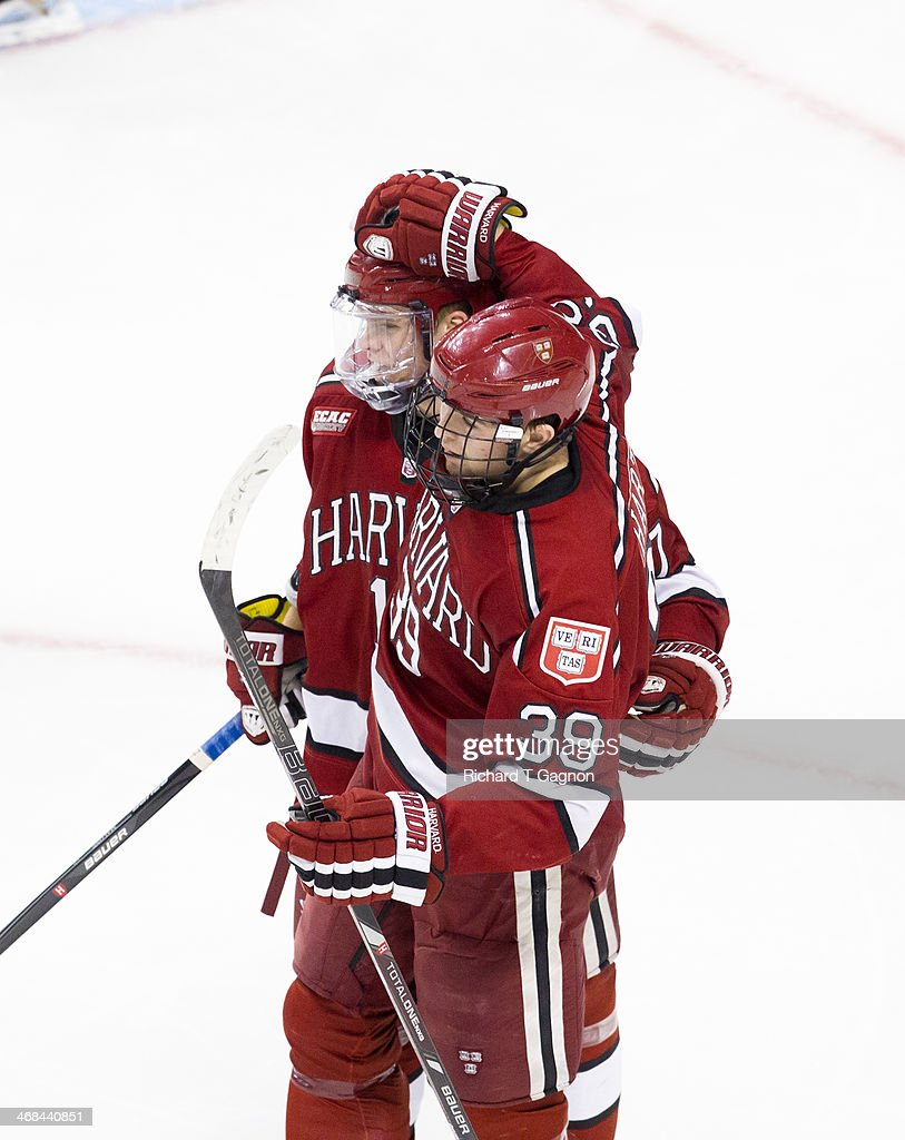Brian Hart of the Harvard Crimson celebrates his goal with teammate Sean Malone during NCAA hockey action against the Boston University Terriers in...