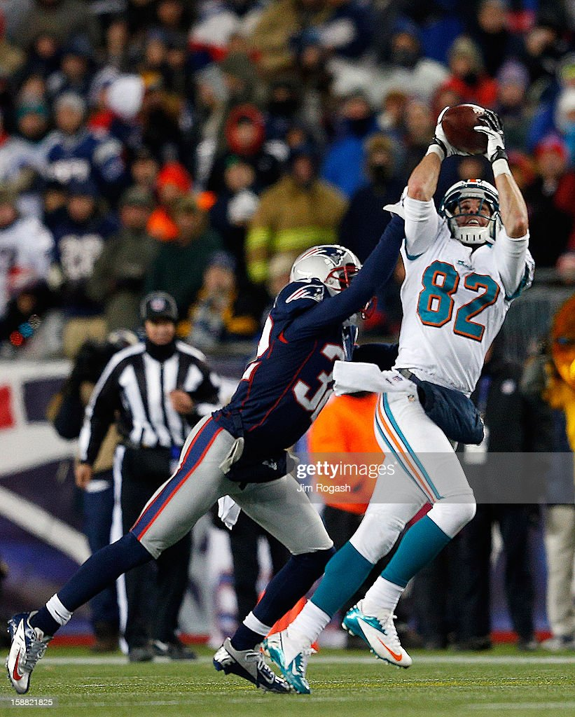 <a gi-track='captionPersonalityLinkClicked' href=/galleries/search?phrase=Brian+Hartline&family=editorial&specificpeople=3485995 ng-click='$event.stopPropagation()'>Brian Hartline</a> #82 of the Miami Dolphins is defended <a gi-track='captionPersonalityLinkClicked' href=/galleries/search?phrase=Devin+McCourty&family=editorial&specificpeople=4510365 ng-click='$event.stopPropagation()'>Devin McCourty</a> #32 of the New England Patriots in the second half at Gillette Stadium on December 30, 2012 in Foxboro, Massachusetts.