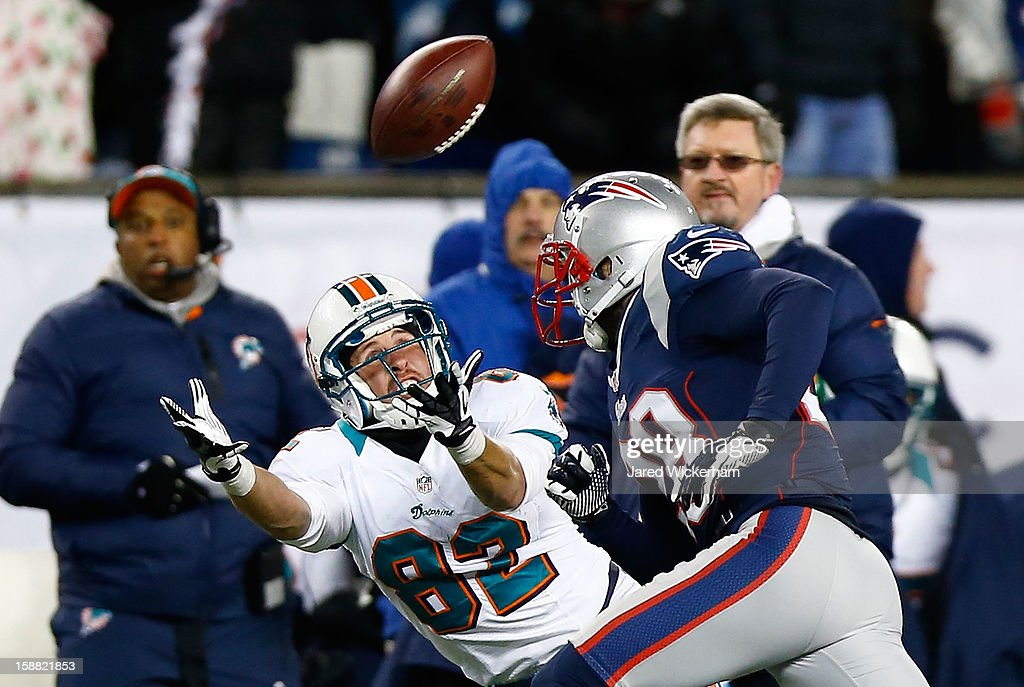 Brian Hartline #82 of the Miami Dolphins misses a catch in front of Steve Gregory #28 of the New England Patriots during the game at Gillette Stadium on December 30, 2012 in Foxboro, Massachusetts.