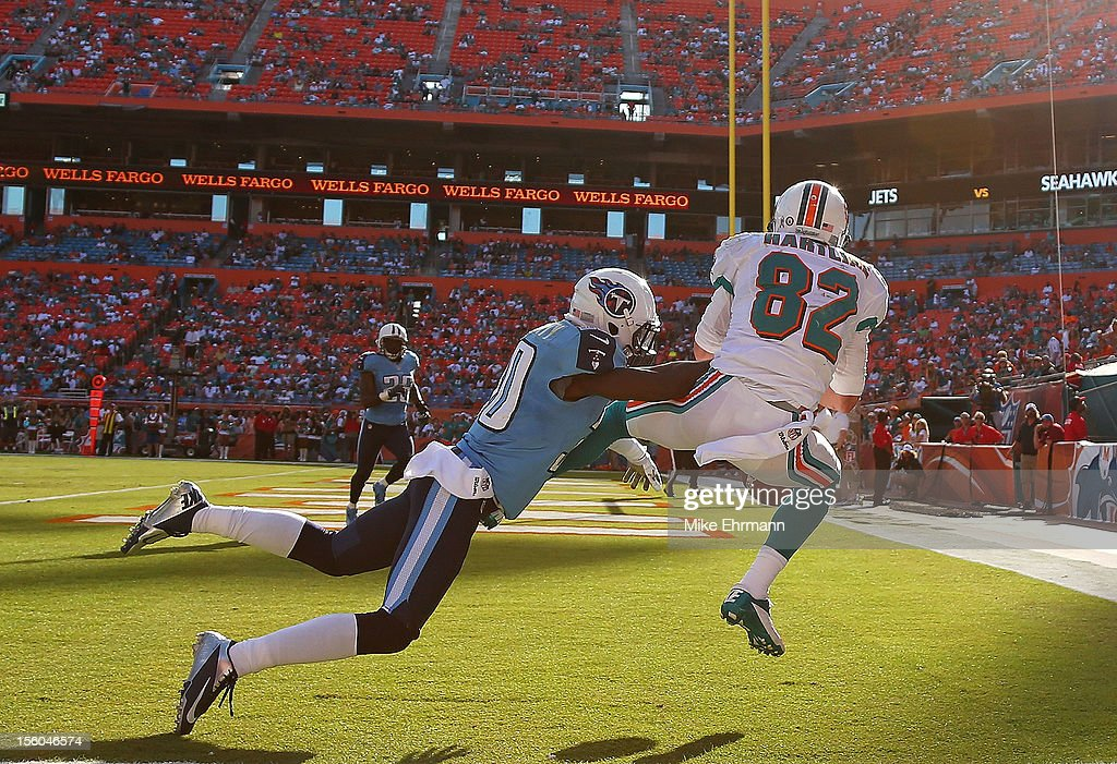 <a gi-track='captionPersonalityLinkClicked' href=/galleries/search?phrase=Brian+Hartline&family=editorial&specificpeople=3485995 ng-click='$event.stopPropagation()'>Brian Hartline</a> #82 of the Miami Dolphins misses a pass defended by <a gi-track='captionPersonalityLinkClicked' href=/galleries/search?phrase=Jason+McCourty&family=editorial&specificpeople=4037211 ng-click='$event.stopPropagation()'>Jason McCourty</a> #30 of the Tennessee Titans during a game at Sun Life Stadium on November 11, 2012 in Miami Gardens, Florida.