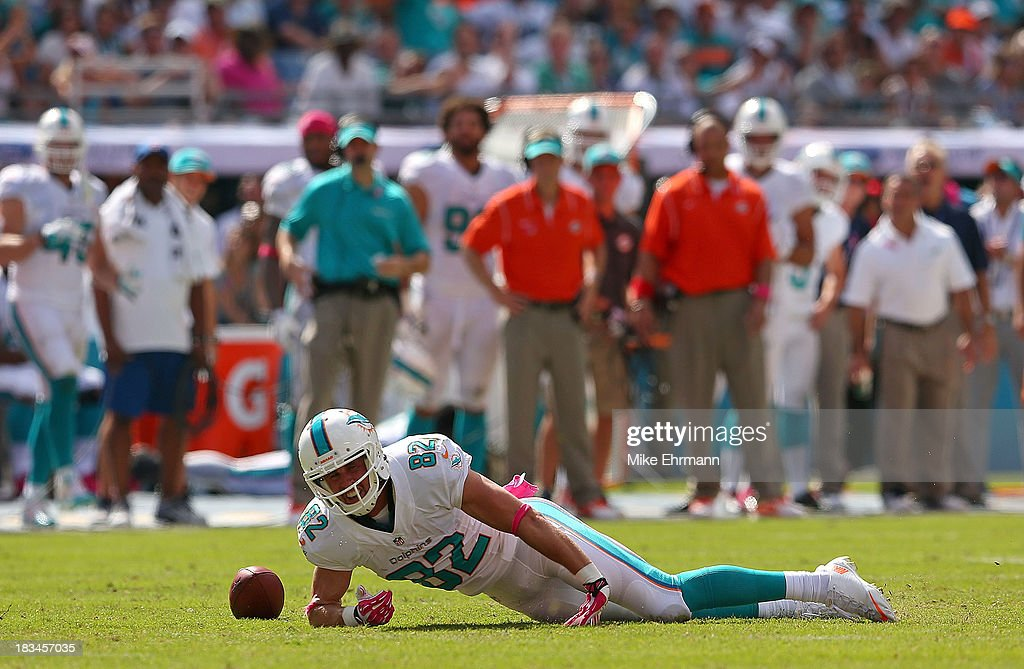 <a gi-track='captionPersonalityLinkClicked' href=/galleries/search?phrase=Brian+Hartline&family=editorial&specificpeople=3485995 ng-click='$event.stopPropagation()'>Brian Hartline</a> #82 of the Miami Dolphins misses a pass during a game against the Baltimore Ravens at Sun Life Stadium on October 6, 2013 in Miami Gardens, Florida.