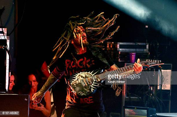 Brian 'Head' Welch of Korn performs onstage at a private concert for SiriusXM at The Theatre at Ace Hotel on October 21 2016 in Los Angeles...