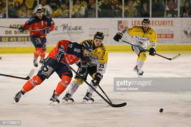 Brian Henderson of Angers and Fabien Colotti of Rouen during the Ice hockey Ligue Magnus Final second game between Les Ducs d'Angers v Les Dragons de...