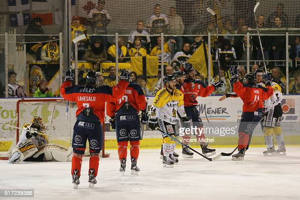Brian Henderson of Angers jubilates after scoring a goal during the Ice hockey Ligue Magnus Final second game between Les Ducs d'Angers v Les Dragons...