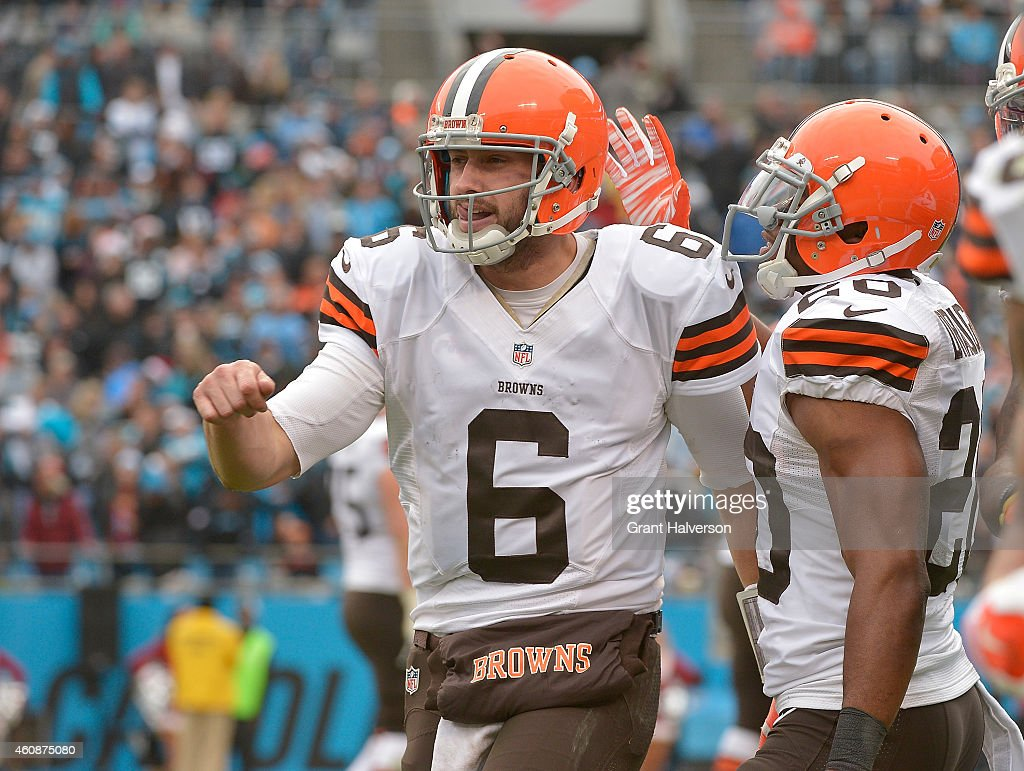 Brian Hoyer #6 of the Cleveland Browns celebrates after throwing for a touchdown against the Carolina Panthers during their game at Bank of America Stadium on December 21, 2014 in Charlotte, North Carolina. The Panthers won 17-13.
