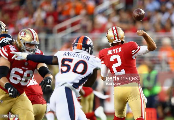 Brian Hoyer of the San Francisco 49ers fumbles the ball against the Denver Broncos at Levi's Stadium on August 19 2017 in Santa Clara California