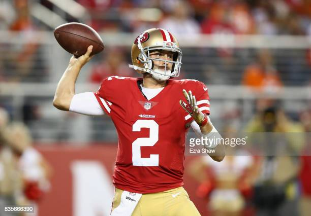 Brian Hoyer of the San Francisco 49ers passes the ball against the Denver Broncos at Levi's Stadium on August 19 2017 in Santa Clara California