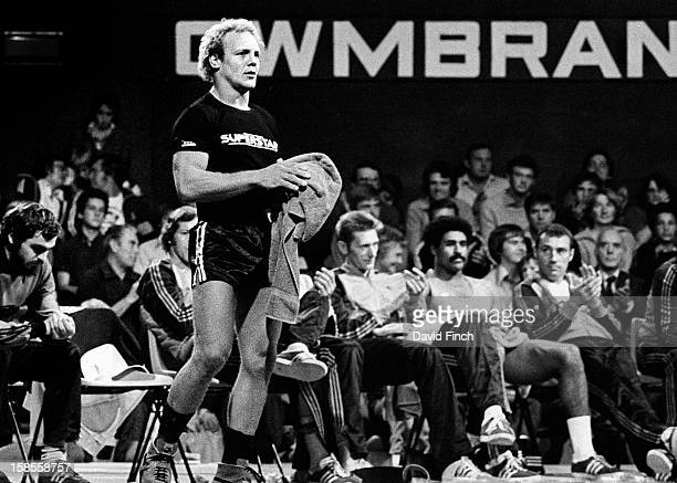 Brian Jacks gets up for the weightlifting in which he finished second to Daley Thompson although first overall during the UK final of Superstars at...