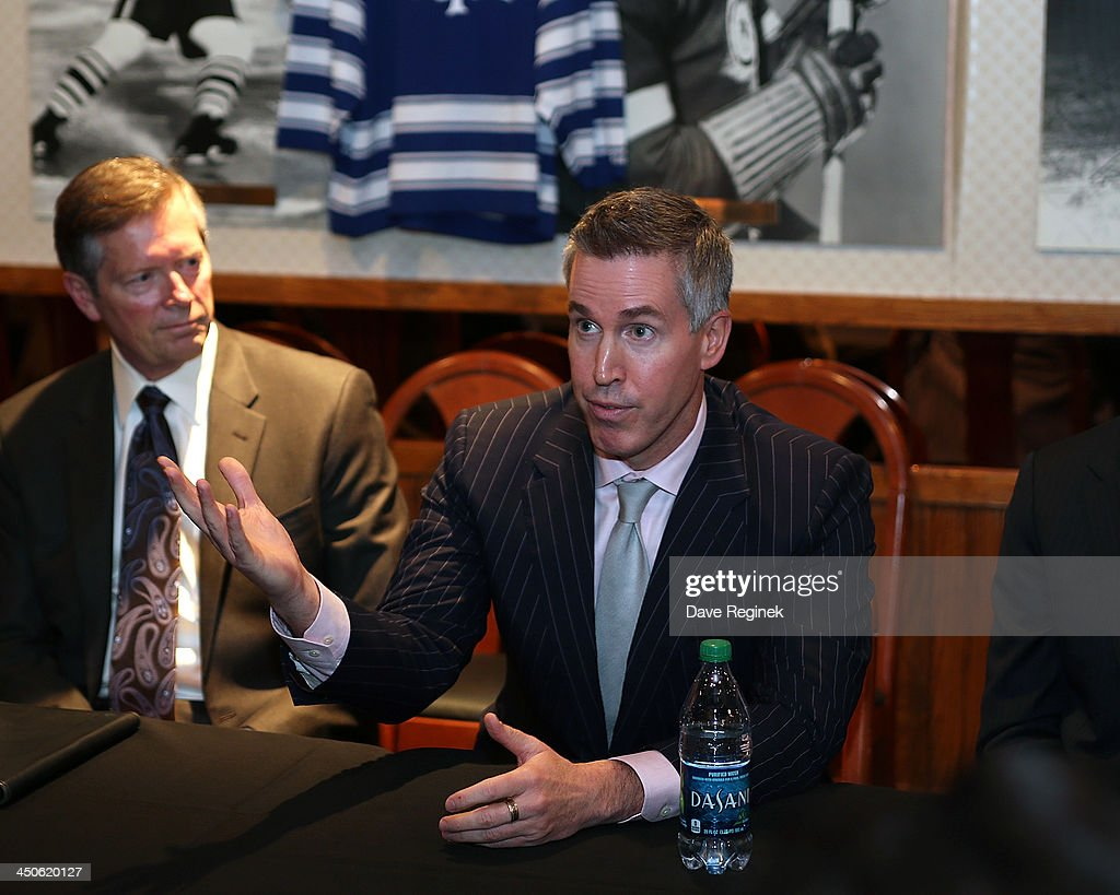 Brian Jennings Chief Marketing Officer for the NHL speaks to the media about the Winter Classic and the Winter Festival at Joe Louis Arena on...