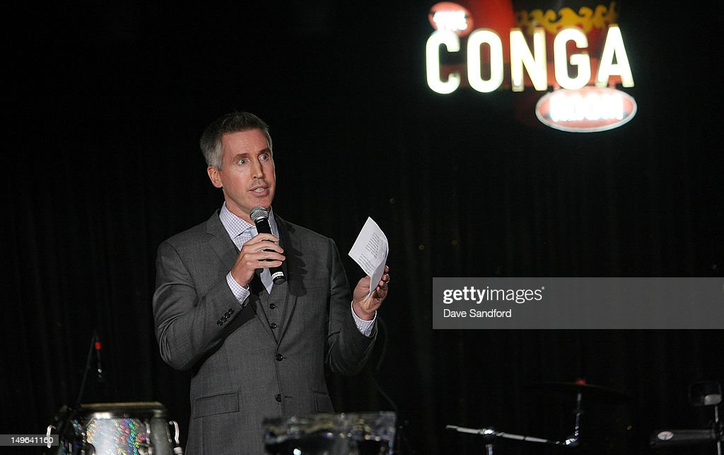 Brian Jennings Executive Vice President of Marketing for the NHL speaks during 2012 NHL Exchange at the Conga Room LA Live on August 1 2012 in Los...