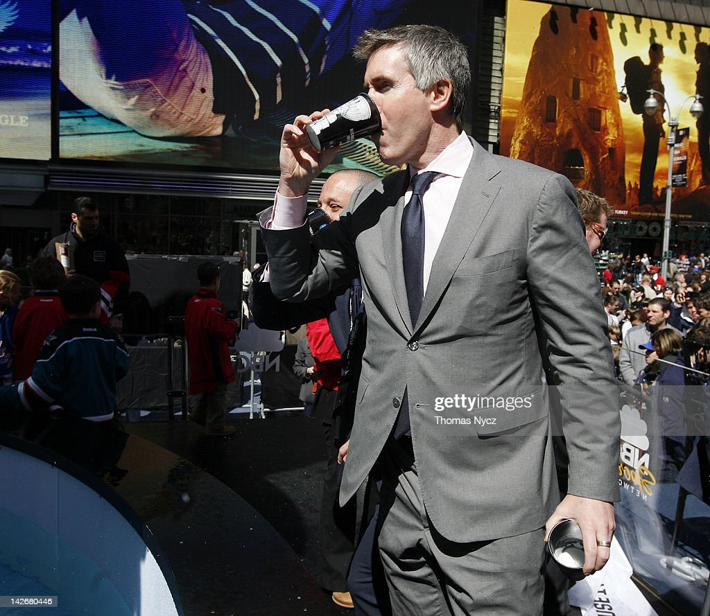 Brian Jennings NHL Executive Vice President Marketing drinks water from the NBC Sports and NHL Stanley Cup fountain during the ceremonial unveiling...